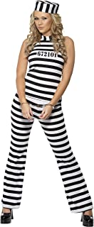 Smiffy's Women's Convict Cutie Costume with Top Trousers and Hat