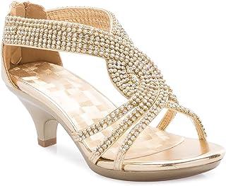 3b4f3f6be3a OLIVIA K Girls  Kids Open Toe Strappy Rhinestone Dress Sandal Low Heel Shoes  - Wedding