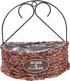 BESTOMZ Flower Basket, Wall Hanging Handmade Floral Basket Indoor Outdoor Decor Semicircle Planter Basket Flower Pot (Single-Deck)