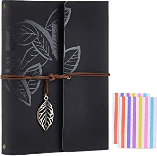 Scrapbook Album,Leather Leaf Pattern Vintage Photo Album Family DIY Memory Retro Photo Book Guestbook for Anniversary Mother Birthday Valentine 60 Pages(Black)