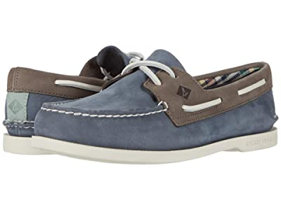 Sperry A/O 2-Eye Plushwave Washable (Blue/Grey) Men