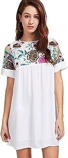 Women's Flower Embroidery Mesh Sheer Chiffon Tunic Dress