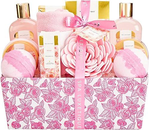 Spa Luxetique Coffret de Bain et de Soins, Parfum de Rose, 12PC Coffret Cadeau pour femme, Crème pour les Mains, Boul...