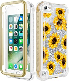 Caka iPod Touch Case 5th 6th 7th Generation, iPod Touch 5 6 7 Glitter Case for Girls Full Body Case with Built in Screen Protector Floral Bling Floating Liquid Case for iPod Touch 5 6 7 (Sunflower)