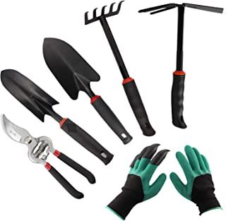 AOLEBA Garden Tool Set,6 Piece Durable Gardening Tools Set with Garden Gloves,Soft Rubberized Non-Slip Handle Stainless St...