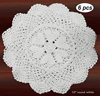 Creative Linens 6PCS 12 Inch Round Handmade Cotton Crochet Lace Doilies with Hearts White, Set of 6 Pieces For Valentine's Day, Mother's Day, Wedding Decoration