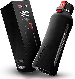 VIA FORTIS® Botella de cristal con funda de silicona de alta calidad – Botella para deporte, fitness, gimnasio, bicicleta y oficina – a prueba de rotura & libre de BPA – 550 ml
