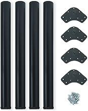 Emuca 2034514 Ø60x710mm, Set van 4 stalen tafelpoten, hoogteverstelling 710-730mm, zwart geschilderd, 60 x 710 mm