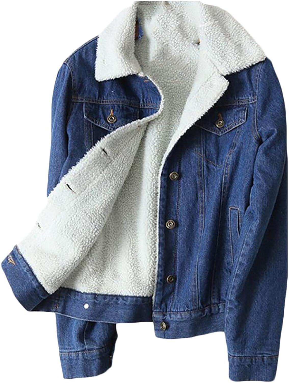 FensajomonWomen Faux Fur Lined Pockets Button Down Denim Jacket Coats Outwear