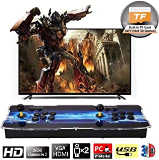 SeeKool 3D Pandora Arcade Game Console, 1920x1080 Full HD 4 Players Max Arcade Machine with 2650 Games, Support Extended TF Card& USB Disk to Enjoy More Games, for PC / Laptop / TV / PS3