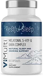 ViMulti Restful Sleep - Snoring Aid and Sleep Aid in One. Natural Snoring Remedy with Melatonin to Help Stop Snoring and Help You Sleep Better Naturally.