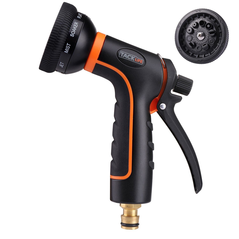 TACKLIFE Pistola de Riego, Pistola de Agua para Manguera de Jardín, de Material ABS, 10 Modos Diferentes para Pulverizar, Caudal de Agua Regulable, Anillo de Metal para Fijar el Caudal - GHN1A: