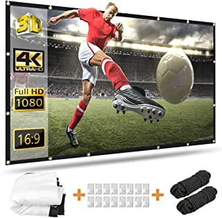 Projector Screen 100 inch, Taotique 4K Movie Projector Screen 16:9 HD Foldable and Portable Anti-Crease Indoor Outdoor Pro...