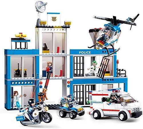 City Police Department, Bauspielzeug, Polizeihubschrauber, Polizeirettfahrzeug, Polizeiauto, Motorrad, 7-fach Rolle, Bausatz (606 Stück)
