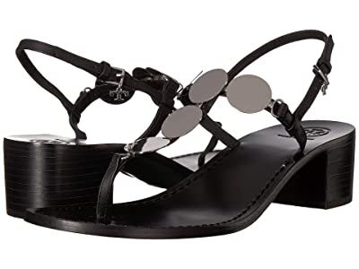 Tory Burch 45 mm Patos Disk Sandal (Perfect Black/Silver) Women