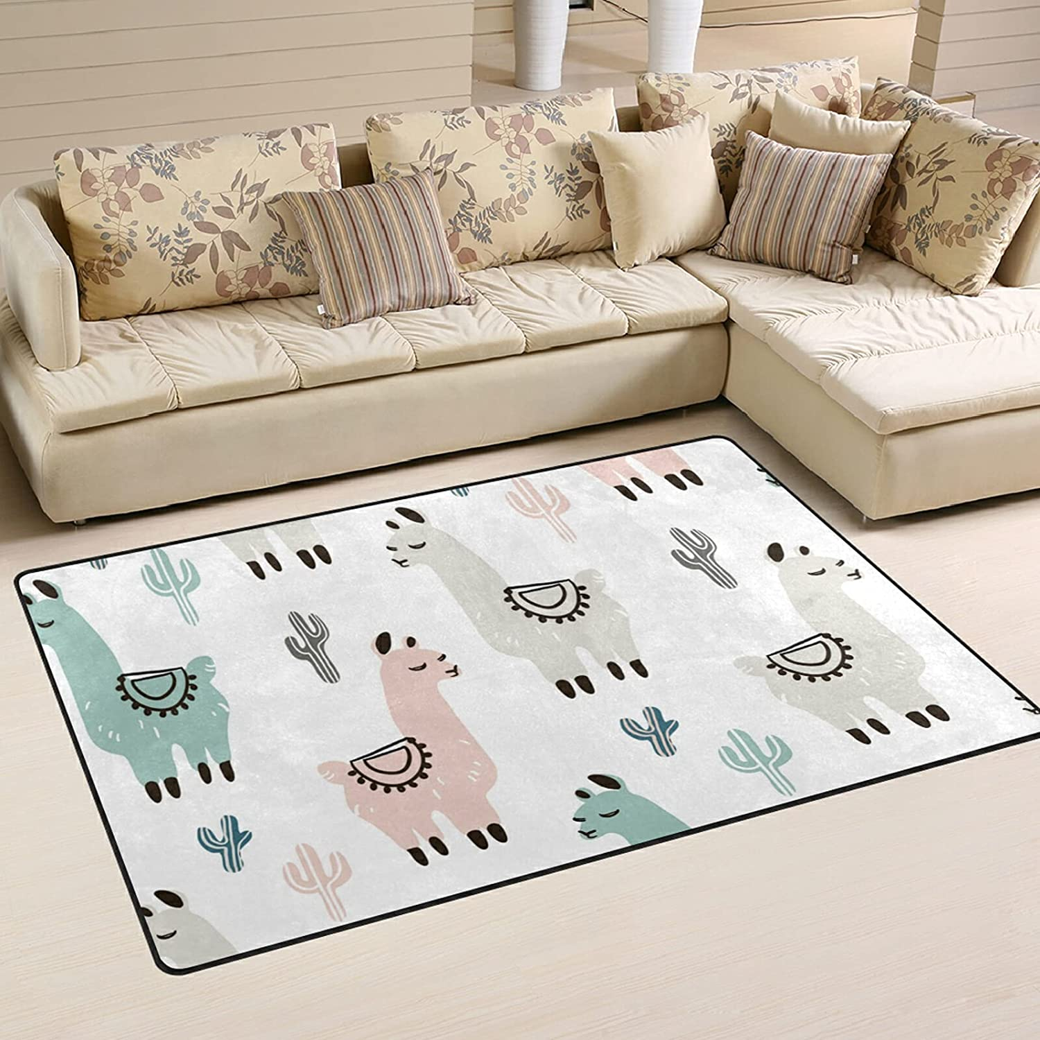 New Shipping Free Shipping Hand Drawn Colorful Llama Large Soft Area R Rugs Playmat Super special price Nursery