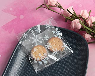 SBYURE 400 Pieces Self Adhesive Cookie Bags Treat Bag Party Favor Bag White Dots Treat Bags Snowflake Candy Treat Gift Bags for Christmas (3.9 x 3.9 Inches)