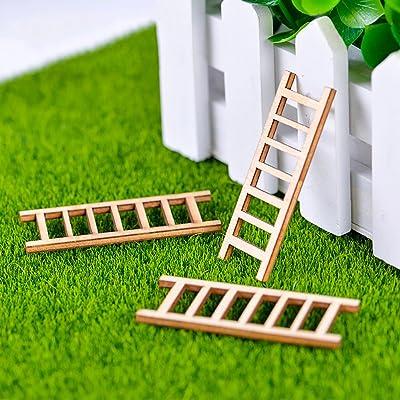 CHoppyWAVE - Adornos en Miniatura para jardín, 3 Piezas, Mini Escalera de Madera en Miniatura, para jardín, Bricolaje, decoración de Micro Paisaje: Amazon.es: Jardín
