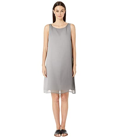Eileen Fisher Bateau Neck Knee Length Dress (Pearl) Women
