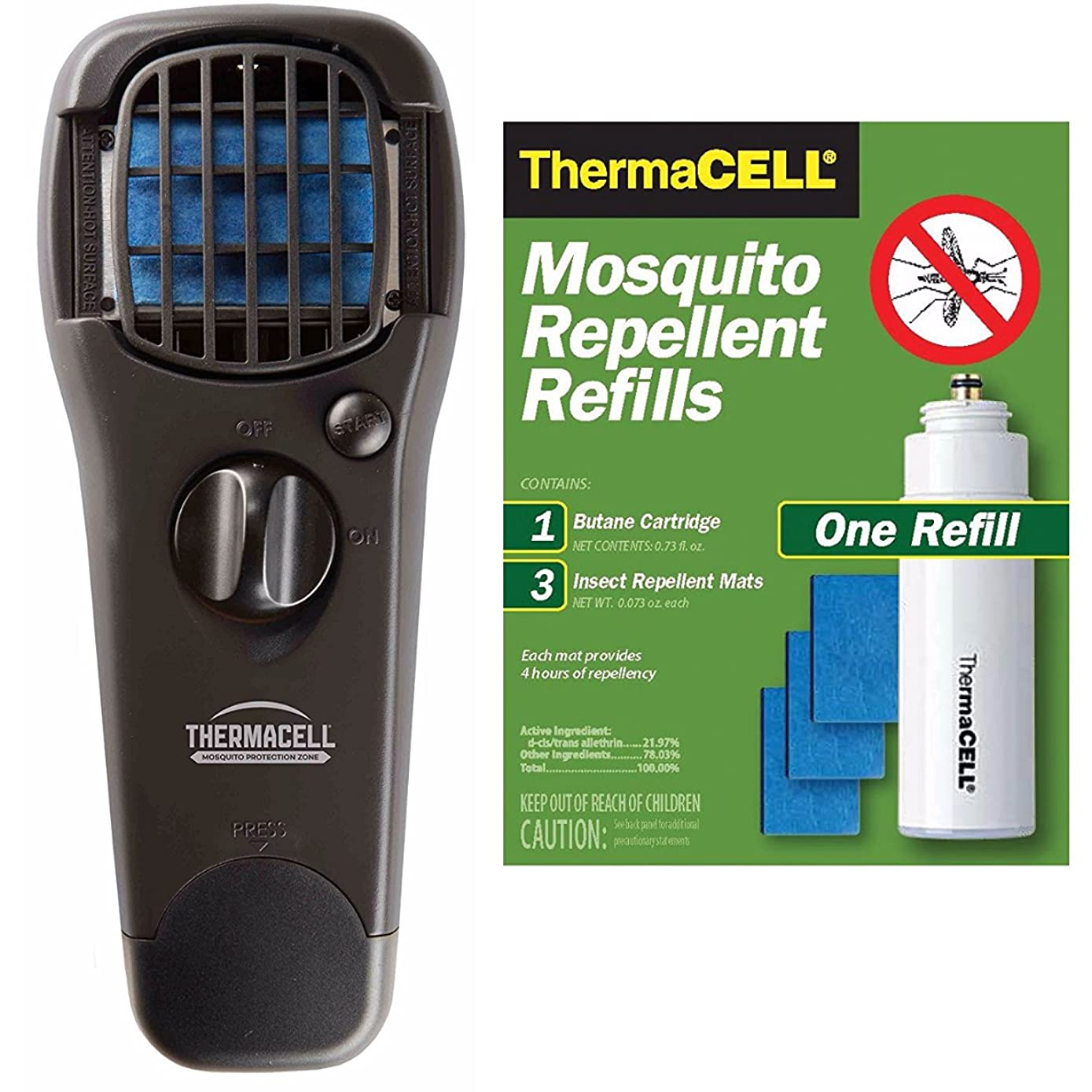 Thermacell Portable Mosquito Repeller (Black) and R-1 Refill Pack - 24 Hours of Protection