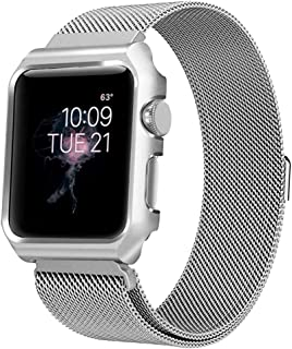 BONSTRAP Compatible AW Strap 42mm Stainless Steel Milanses Loop with Case