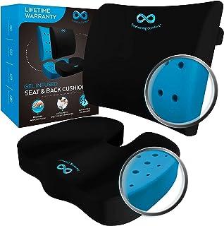 Everlasting Comfort Memory Foam Seat Cushion and Lumbar Back Cushion Combo - Gel Infused and Ventilated - Orthopedic Desig...