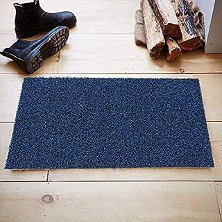 KUBER INDUSTRIES Micro Fiber Door Mat for Offices,Hotel,Restaurtaurant, Home,Shop Set of 1 Pc 60 40 cm Blue, Doormatturf02...
