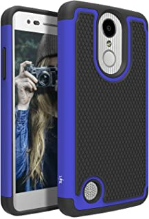 LG Aristo Case, LG Phoenix 3 Case, LG K8 2017 Case, LG Fortune Case, LG Risio 2 Case, LG Rebel 2 LTE Case, LK [Shock Absorption] Drop Protection Hybrid Armor Defender Protective Case Cover (Blue)