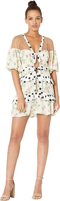 For Love & Lemons Womens CD1896-SU19 Butterscotch Tiered Mini Dress Short Sleeve Cocktail Dress - White