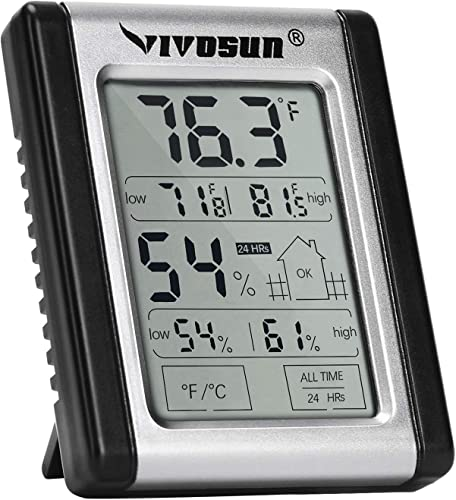 new arrival VIVOSUN Digital Indoor Thermometer and Hygrometer with Humidity sale Gauge; Accurate Temperature / Humidity Monitor Meter for Home, Office, Indoor Garden; Button Battery online Included outlet online sale