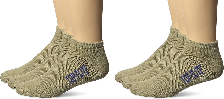 Top Flite Mens Sport Full Cushion Low Cut Socks 6 Pair Pack