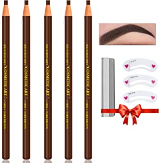 QIUFSSE Waterproof Eyebrow Pencil Dark Brown Brow Pencil Set For Marking,Filling and Outlining,Eyebrow Tattoo Makeup Micro...