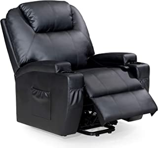 FRIVITY Recliner Chair with Electric Power, Elderly Gift with Heat Massage, Bonded Leather Movable Sofa with Remote Control in Living Room, Black