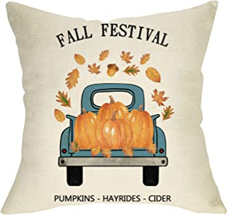 Softxpp Fall Festival Decorative Throw Pillow Cover Pumpkin Maple Leaves Vintage Blue Truck, Welcome Autumn Pillow Case Decor Thanksgiving Holiday Square Cushion Cover for Home Decorations 18 x 18
