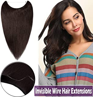 16 Inch Hidden Wire Human Hair Extensions Thin Secret Fish Line Hairpieces Long Straight No Clips No Glue Hairpieces Invisible Fish Line in 60g #2 Dark Brown
