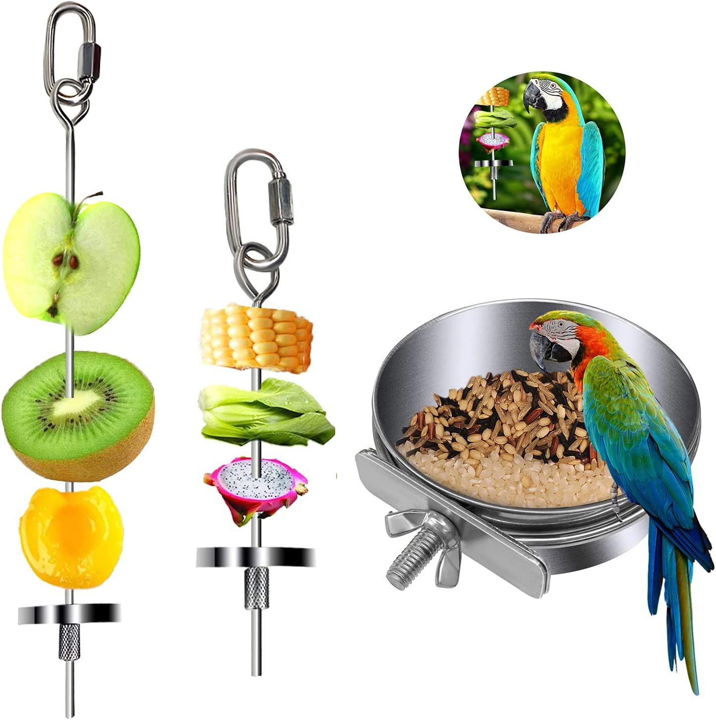SETHOUS 3 Pack Bird Food Holder, Bird Food Bowl Stainless Steel Parrot Rat Chicken Fruit Vegetable Stick Skewer with The Ring Hanging Food Feeding Treating Skewer Small Animal Feeder Toy Foraging Toy