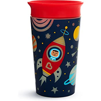 Munchkin Miracle 360 Degree Glow in The Dark Sippy Cup, 9 Oz, Astronaut, Red