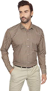 John Noble Brown Colour Slim Fit Checkered Polyester Formal Shirt