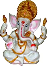 Lightahead :The Blessing. A White & Gold Statue of Lord Ganesh Ganpati Elephant Hindu God Made from Marble Powder