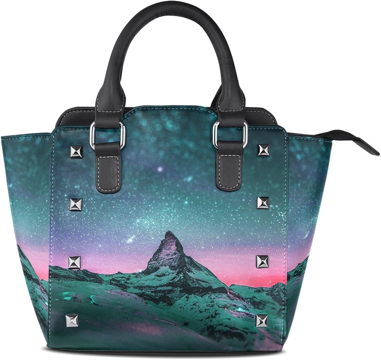 Sunlome Beautiful Starry Sky Print Women's Leather Tote Shoulder Bags Handbags