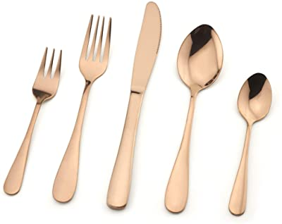 Copper Flatware Silverware Set, 20-Piece Stainless Steel Cutlery Set for Home Restaurant Party, Mirror Finished ,Service for 4 Tableware Set