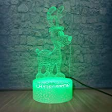 3D Illusion led Night lamp 3D Christmas Reindeer Lamp Baby Bedroom Atmosphere Night Lamp USB Lampara Creative Children   s
