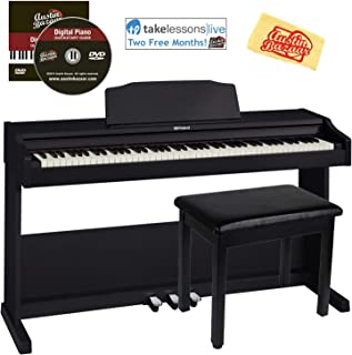 Roland RP102 Digital Piano Bundle with Furniture Bench, Online Lessons, Austin Bazaar Instructional DVD, and Polishing Cloth