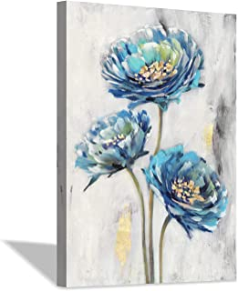Abstract Blue Floral Wall Art: Flowers Lotos Artwork Painting Canvas Print for Stairway (36