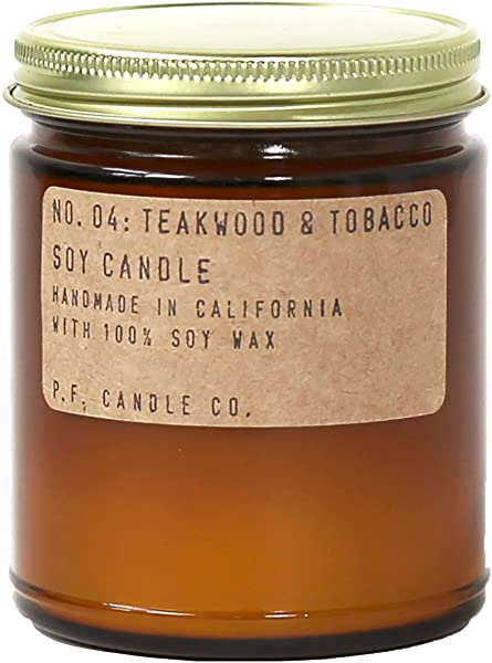P F Candle Co No 04 Teakwood Tobacco Soy Candle 7 2 Oz