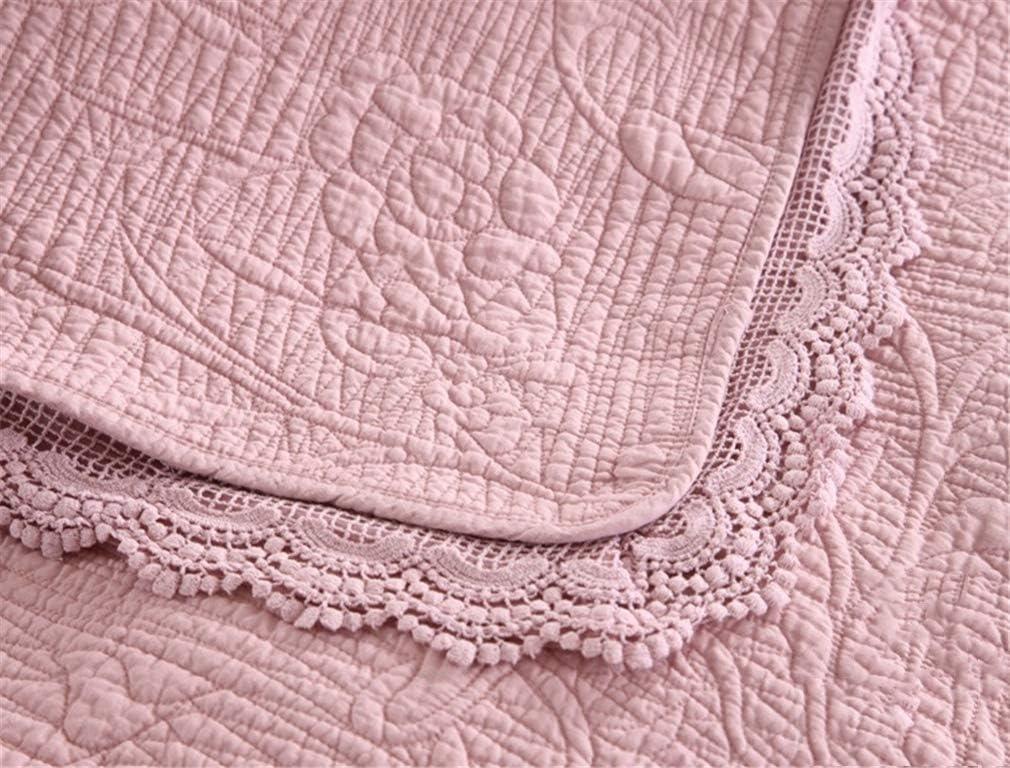 ADGAI Couvre-lit Lancers Double et Fits Deux Lits King Size 2 Correspondants Oreiller Shams 230 x 250 cm,Blanc Pink