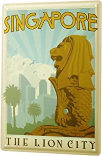 Dreamawsl Wall Decoration - World Tour Singapore Lion City - Metal Vintage Retro Tin Wall Signs Bar Club Poster Signs 11.8 x 7.8 inch