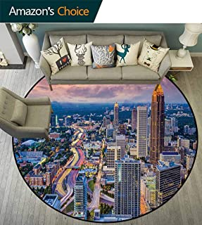 DESPKON-HOME Modern Non Slip Round Rugs,Atlanta City Skyline at Sunset with Hazy Light Georgia Town American View Oriental Floor and Carpets Round-55 Inch,Baby Pink Blue Silver