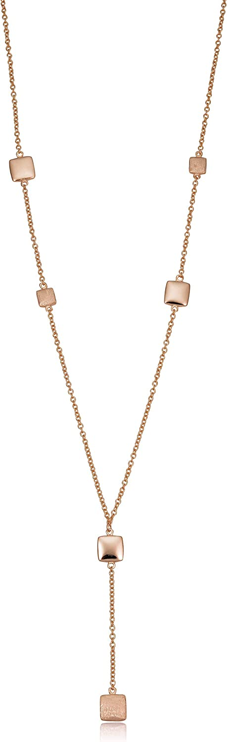 Kooljewelry 14k Yellow or Rose Gold Square Station Drop Necklace (adjusts to 17 or 18 inch)