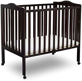 Delta Children Folding Portable Mini Baby Crib with 1.5-inch Mattress, Dark Chocolate